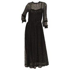 1980s Chanel Sheer Black Silk Evening Dress with Floral Embroidery and Sequins