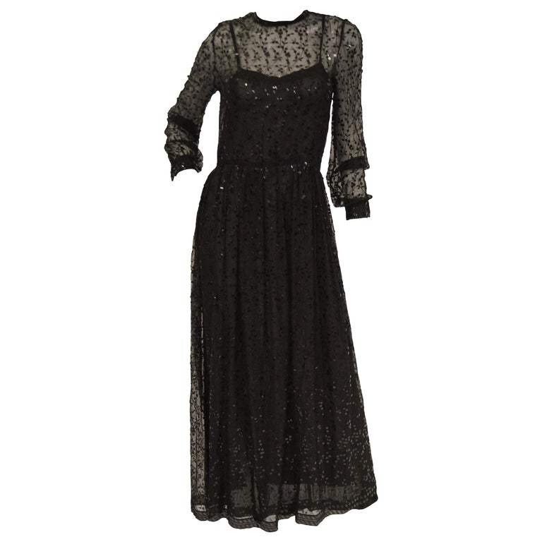 1980s Chanel Sheer Black Silk Evening Dress with Floral Embroidery and Sequins For Sale