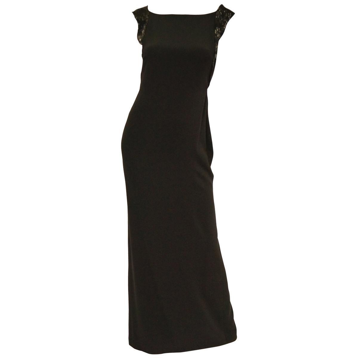 Richard Tyler Couture Black Silk & Sequin Plunge Back Dress
