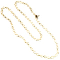 Panetta Faux Baroque Pearl Necklace With Enameled Bee Clasp, 1950s