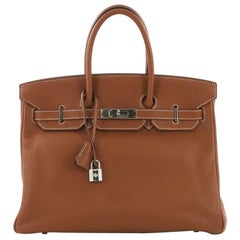Hermes Birkin Handbag Gold Clemence with Palladium Hardware 35