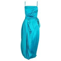 1950's Lee Claire Aqua-Blue Silk Ruched Asymmetric Drape Belted Cocktail Dress
