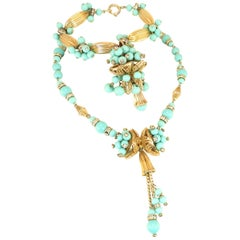 Miriam Haskell Turquoise Glass Necklace & Bracelet Set, Made in Germany 1950s