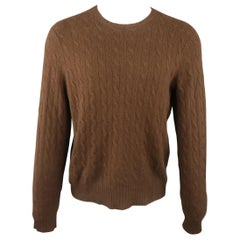 RALPH LAUREN Size M Brown Cable Knit Cashmere Pullover Sweater