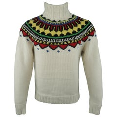RALPH LAUREN Size M Cream Wool Intarsia Fairisle Turtleneck Sweater