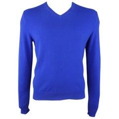 RALPH LAUREN Size L Royal Blue Cashmere V Neck Pullover Sweater