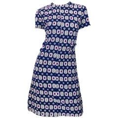 Chic 1960s Navy Blue + Fuchsia + Yellow Geometric Daisy Print 60s A Line Dress