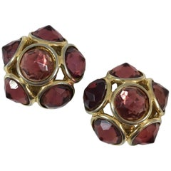 Yves Saint Laurent Faceted Maroon Resin Earrings 1980s