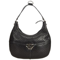 Gucci Black Perforated Leather Reins Hobo