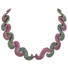 Schiaparelli Pink and Blue Rhinestone Necklace, Circa 1950s