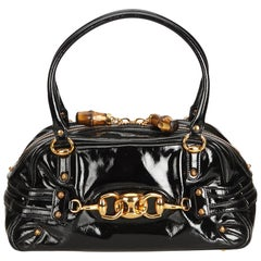 Gucci Black Patent Leather Horsebit Wave Shoulder Bag