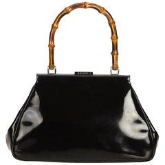 Gucci Black Bamboo Leather Handbag