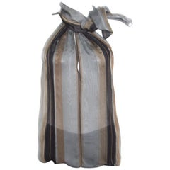 Yves Saint Laurent Multicolor Striped Silk Organza Neck Tie Sleeveless Top M