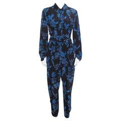 Stella McCartney Black and Blue Floral Printed Silk Belted Natalia Jumpsuit M