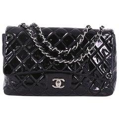 Chanel klassische einzelne Klappe Tasche gesteppt Patent Jumbo