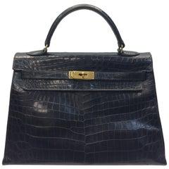 Hermes Kelly Black Alligator Skin Handbag