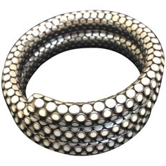 John Hardy Silver and White Ceramic Wrap Bracelet