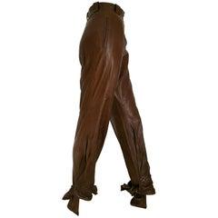 Anne Marie BERETTA Paris brown leather up to under heel trousers - Unworn, New