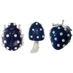 Crown Trifari Lucite Ladybug, Mushroom and Strawberry Trio Brooch Pins