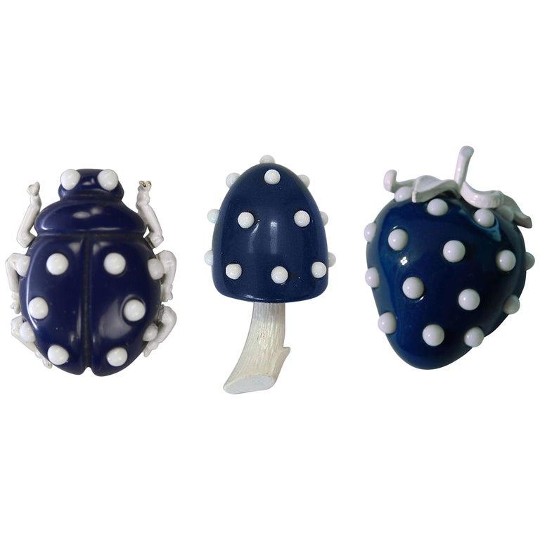 Crown Trifari Lucite Ladybug, Mushroom and Strawberry Trio Brooch Pins  For Sale