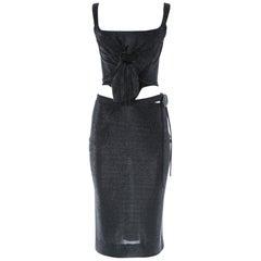 Vivienne Westwood silver lurex corset and skirt evening ensemble, A/W 1998