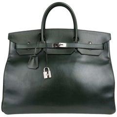 Hermes Birkin 50 Bag Travel Tote Dark Green Palladium Very Rare