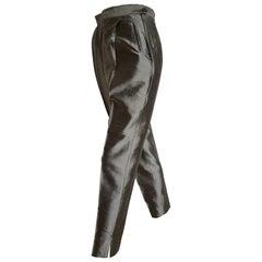 PRADA grey silk shantung pants - Unworn, New