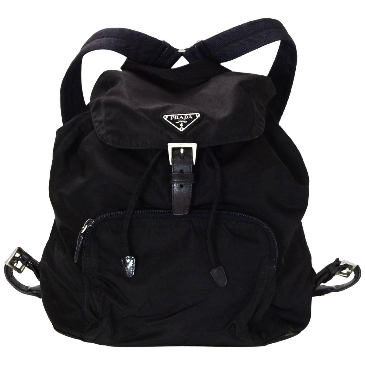 760571a31203d0 50% off prada black nylon front zip pocket backpack bag 902c9 1da04