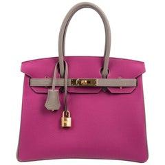 Hermes Birkin 30 Bag HSS Rose Poupre Gris Asphalte Togo Gold Hardware
