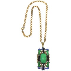 Circa 1920s Czech Cabochon and Molded Glass Pendant Necklace
