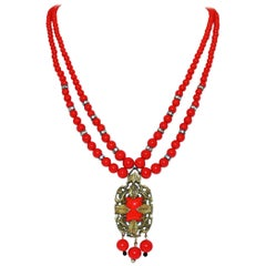 Circa 1930s Red Beaded Pendant Necklace