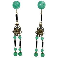 Circa 1920s Peking Glass and Brass Dangling Earrings