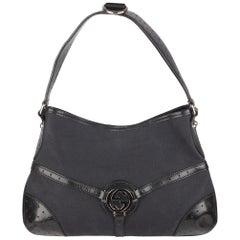 Gucci Black Canvas Reins Hobo Shoulder Bag Tote
