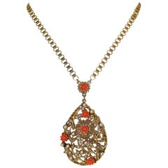 Circa 1930 Book-Chain Necklace With Jeweled Pendant