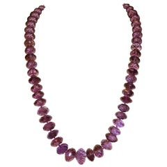 Natural Faceted Amethyst Bead Necklace, C.1970s