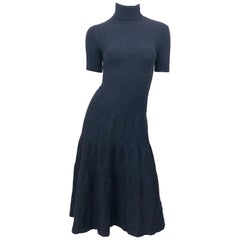 Vintage Ralph Lauren Collection Purple Label Cashmere Gray Short Sleeve Dress