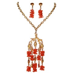 Circa 1960s Trifari Faux-Coral Necklace and Earrings Set