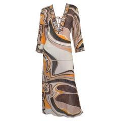 Emilio Pucci Silk Blend Caftan Maxi Dress