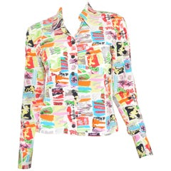 Chanel 1997 C Print Silk Blouse