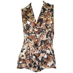 Chanel 2005 P Brown Silk Print Blouse