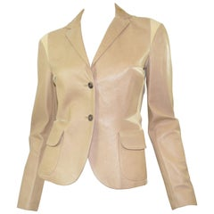 Gucci Leather Blazer Jacket with Mesh Panels