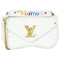 Louis Vuitton 2018 White Chevron Quilted Calfskin Leather New Wave Chain MM Bag