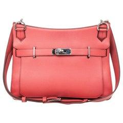 Hermes Rose Jaipur Taurillon Clemence Leather Jypsiere 34 Bag