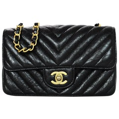 Chanel 2018 Metallic Black Chevron Quilted Rectangular Mini Flap Crossbody Bag