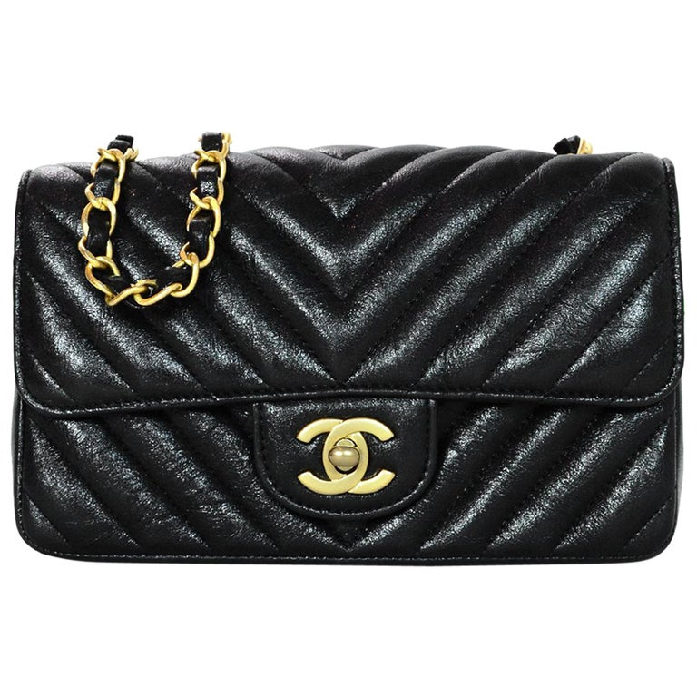 d00eb100d7d7 Chanel 2018 Metallic Black Chevron Quilted Rectangular Mini Flap Crossbody  Bag For Sale