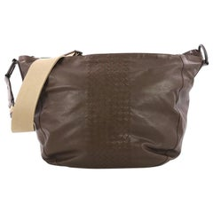 Bottega Veneta Zip Top Messenger Leather with Intrecciato Detail Large