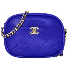 Chanel 2018 Royal Blue Leather Quilted CC Camera Crossbody Bag w. Receipt