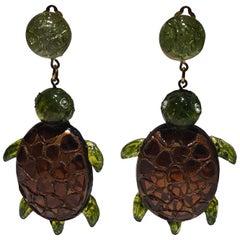 Monumental Unique Turtle Statement Earrings by Cilea Paris