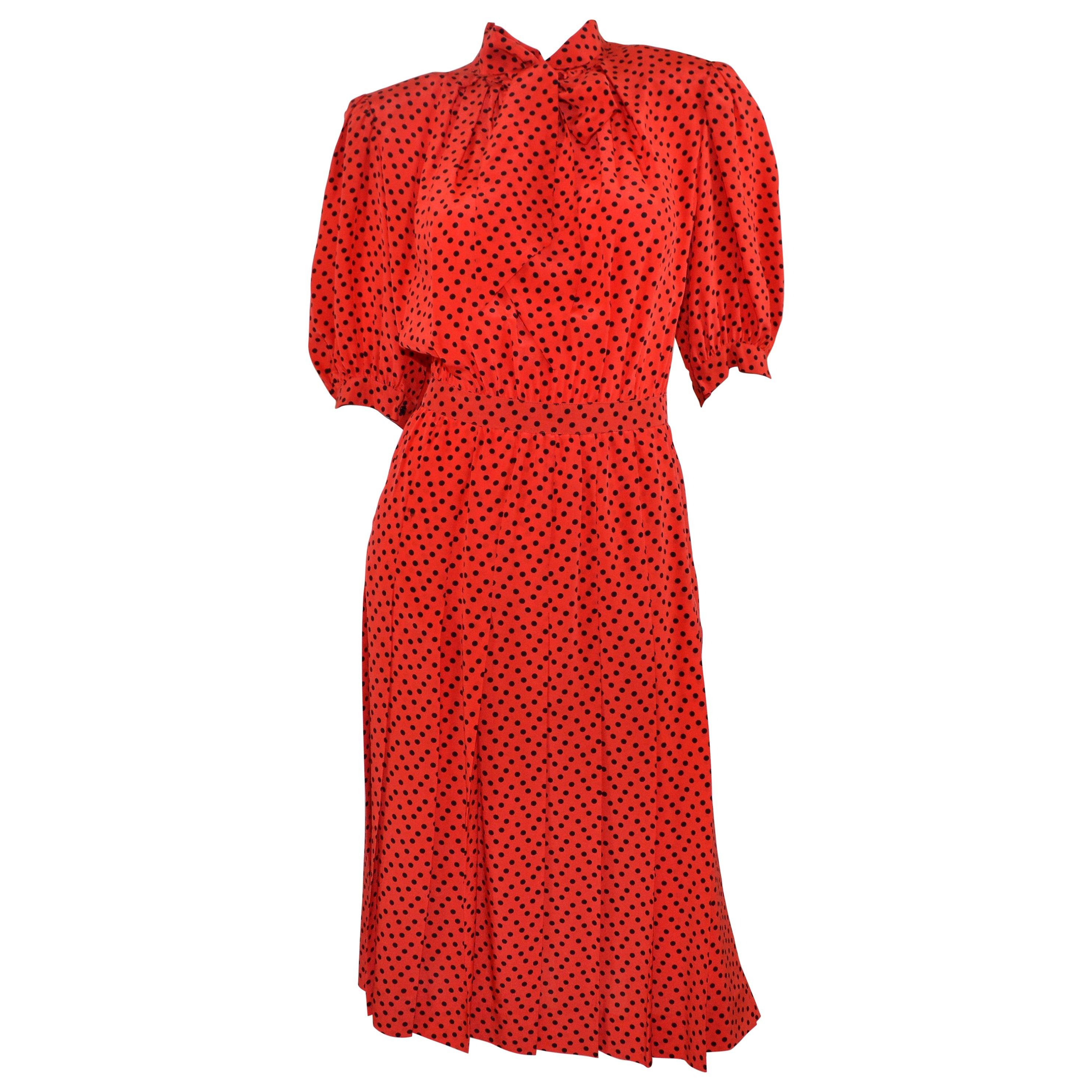 Vintage Saint Laurent Rive Gauche Polka-Dot Pleated Dress with Neck Tie
