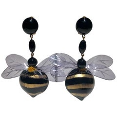 Monumental Unique Bumble Bee French Statement Earrings